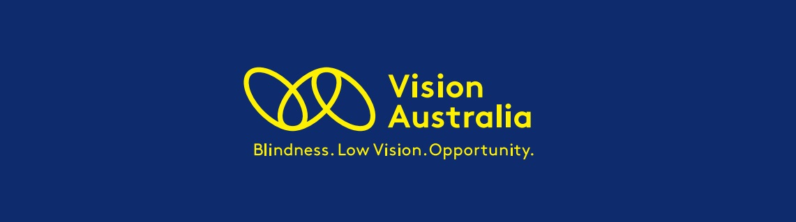 Vision Australia logo - 3 yellow links with text of Vision Australia. Blindness. Low Vision. Opportunity. on a royal blue background.