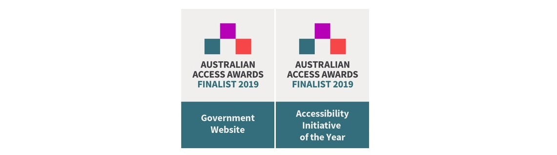 2 Australian Access Awards Finalist 2019 logos, 1 for Government website and 1 for Accessibility Initiative of the Year